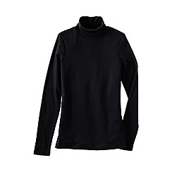 Lands' End - Black petite shaped supima long sleeve roll neck