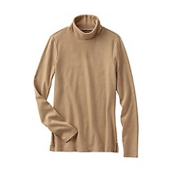 Lands' End - Beige women's petite shaped supima long sleeve roll neck