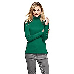 Lands' End - Green women's petite shaped supima long sleeve roll neck