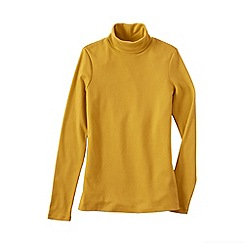 Lands' End - Gold women's petite shaped supima long sleeve roll neck
