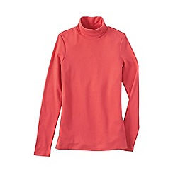 Lands' End - Orange women's petite shaped supima long sleeve roll neck