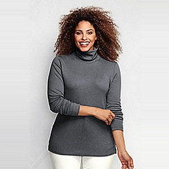 Lands' End - Grey women's plus supima polo neck