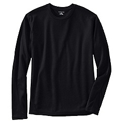 Lands' End - Black men's regular midweight thermaskin heat crew