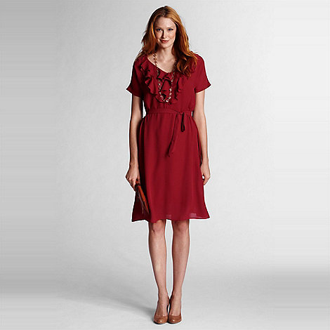 Lands+ End - Red georgette ruffle dress
