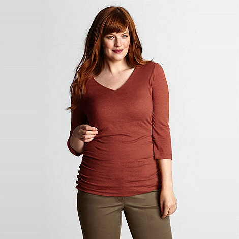 Lands+ End - Orange women+s plus side shirred v-neck tee