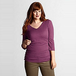 Lands' End - Purple women's plus side shirred v-neck tee