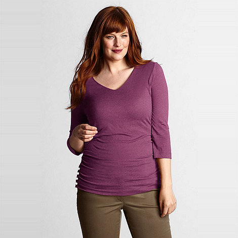 Lands+ End - Purple women+s plus side shirred v-neck tee
