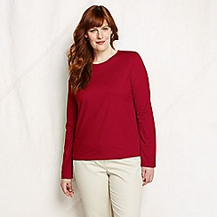 Lands' End - Red women's regular supima long sleeved crew neck tee