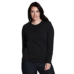 Lands' End - Black women's regular supima long sleeved crew neck tee
