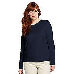 Lands' End - Blue women's regular supima long sleeved crew neck tee