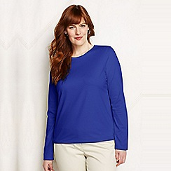 Lands' End - Blue plus regular supima long sleeved crew neck tee