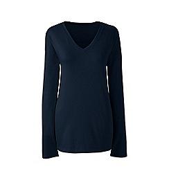 Lands' End - Blue plus supima long sleeved v-neck t-shirt