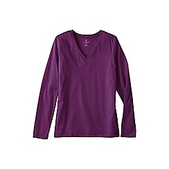 Lands' End - Purple women's plus supima long sleeved v-neck tee