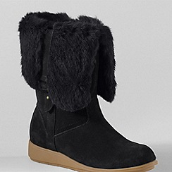 Lands' End - Black mendota suede faux fur trim boots