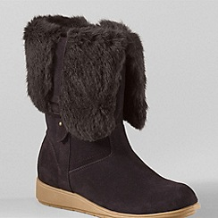 Lands' End - Brown mendota suede faux fur trim boots