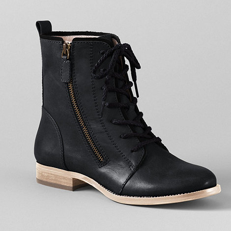 Lands+ End - Black Bennett Lace-Up Boots