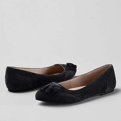 Lands+ End - Black women+s greer tassel toe ballet shoes