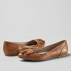 Lands' End - Brown women's greer tassel toe ballet shoes