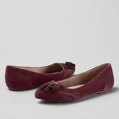 Lands+ End - Purple women+s greer tassel toe ballet shoes