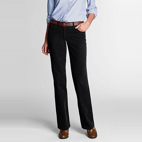 Lands+ End - Black women+s regular bootcut stretch cord jeans