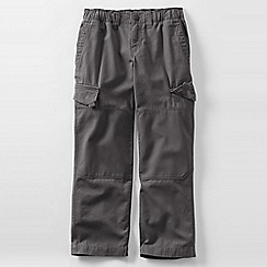 Lands' End - Grey boys' iron knee pull-on canvas trousers