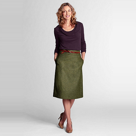 Lands+ End - Green a-line herringbone skirt