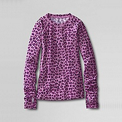 Lands' End - Pink little girls' print thermaskin heat midweight crew top