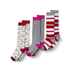 Lands' End - Red girls' pattern knee-high socks