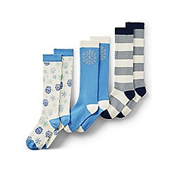 Lands' End - Blue girls' pattern knee-high socks