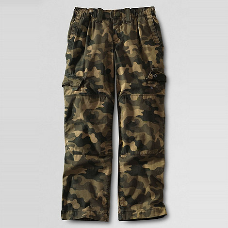 Lands+ End - Boys+ iron knee camouflage ripstop trousers