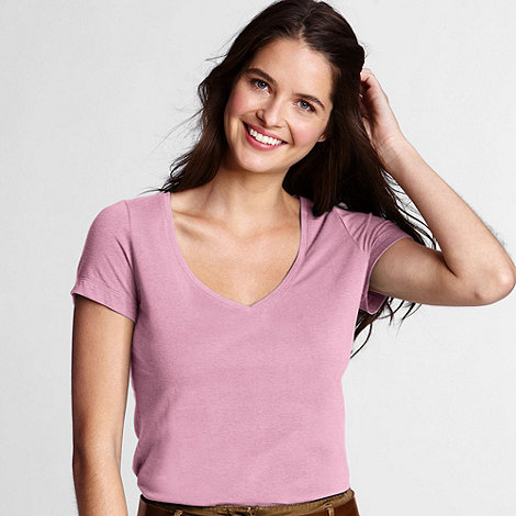 Lands+ End - Pink women+s short sleeve cotton/modal v-neck tee