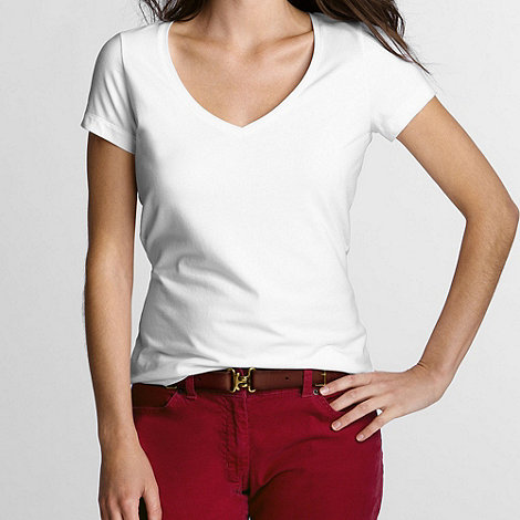 Lands+ End - White women+s short sleeve cotton/modal v-neck tee