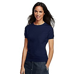 Lands' End - Blue women's supima fine gauge short sleeve jumper