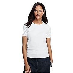 Lands' End - White women's supima fine gauge short sleeve jumper