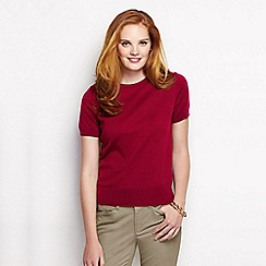 Lands' End - Red women's supima fine gauge short sleeve jumper