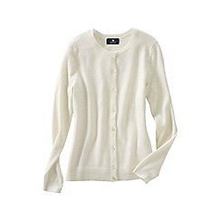 Lands' End - Cream women's petite classic cashmere cardigan