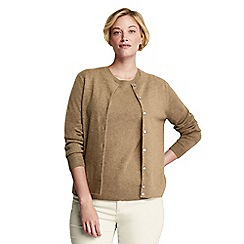 Lands' End - Beige women's plus cashmere crew neck cardigan