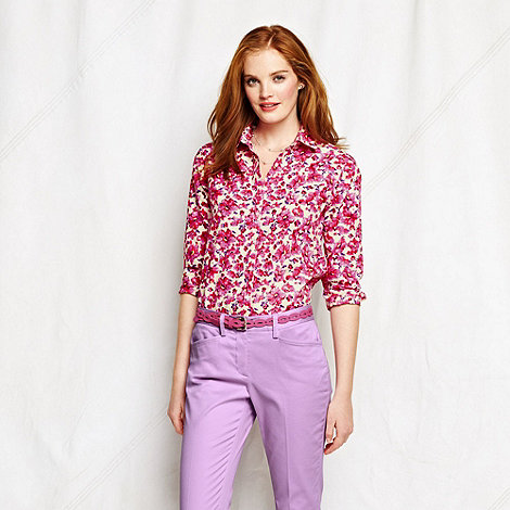 Lands+ End - Pink women+s petite patterned supima cotton three-quarter sleeve