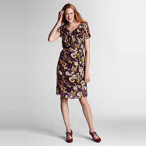 Lands+ End - Purple floral georgette ruffle dress