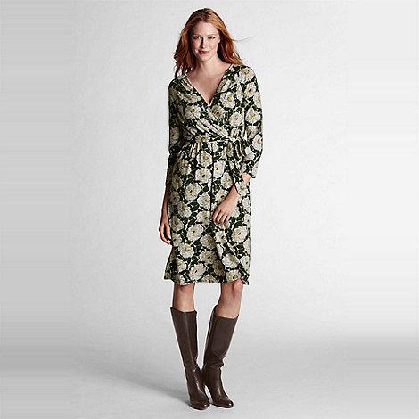 Lands+ End - Green floral print crepe jersey wrap dress