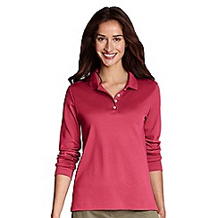 Lands' End - Pink women's plus long sleeve pima polo
