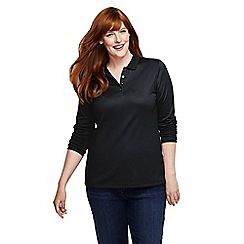 Lands' End - Black women's plus long sleeve pima polo