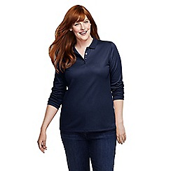 Lands' End - Blue women's plus long sleeve pima polo