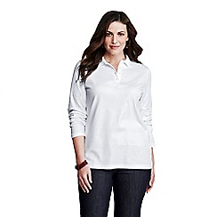Lands' End - White women's plus long sleeve pima polo
