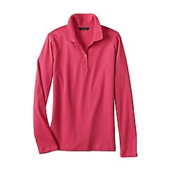 Lands' End - Pink women's petite long sleeve pima polo classic fit