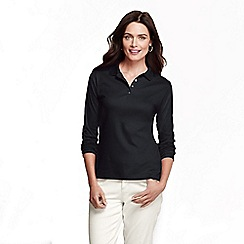 Lands' End - Black petite long sleeve pima polo petite