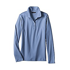 Lands' End - Blue women's petite long sleeve pima polo classic fit