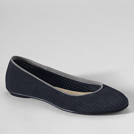 Lands+ End - Blue women+s lila perforated suede ballet shoes