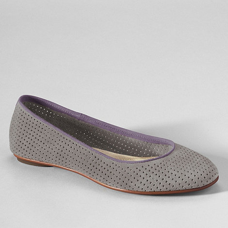 Lands+ End - Grey women+s lila perforated suede ballet shoes