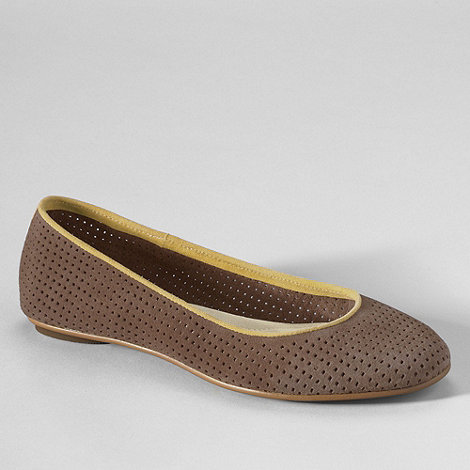 Lands+ End - Brown women+s lila perforated suede ballet shoes